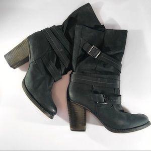 ALDO Matte Black Leather Kasha Boots Size 39